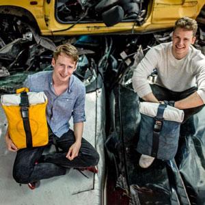 airpaq - rucksack aus autoschrott / airbags